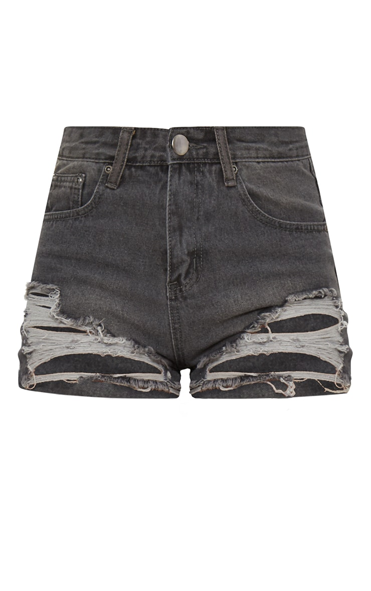 Grey Extreme Rip Mom Denim Shorts  3