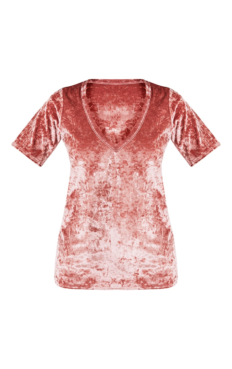 Suri Dusty Pink Crushed Velvet Oversized T Shirt 3