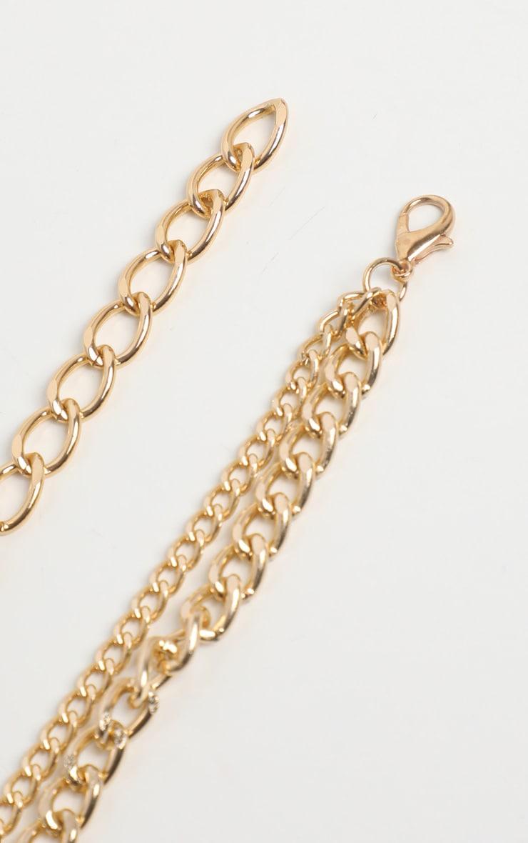 Collier superposé doré à cadenas et clef 5