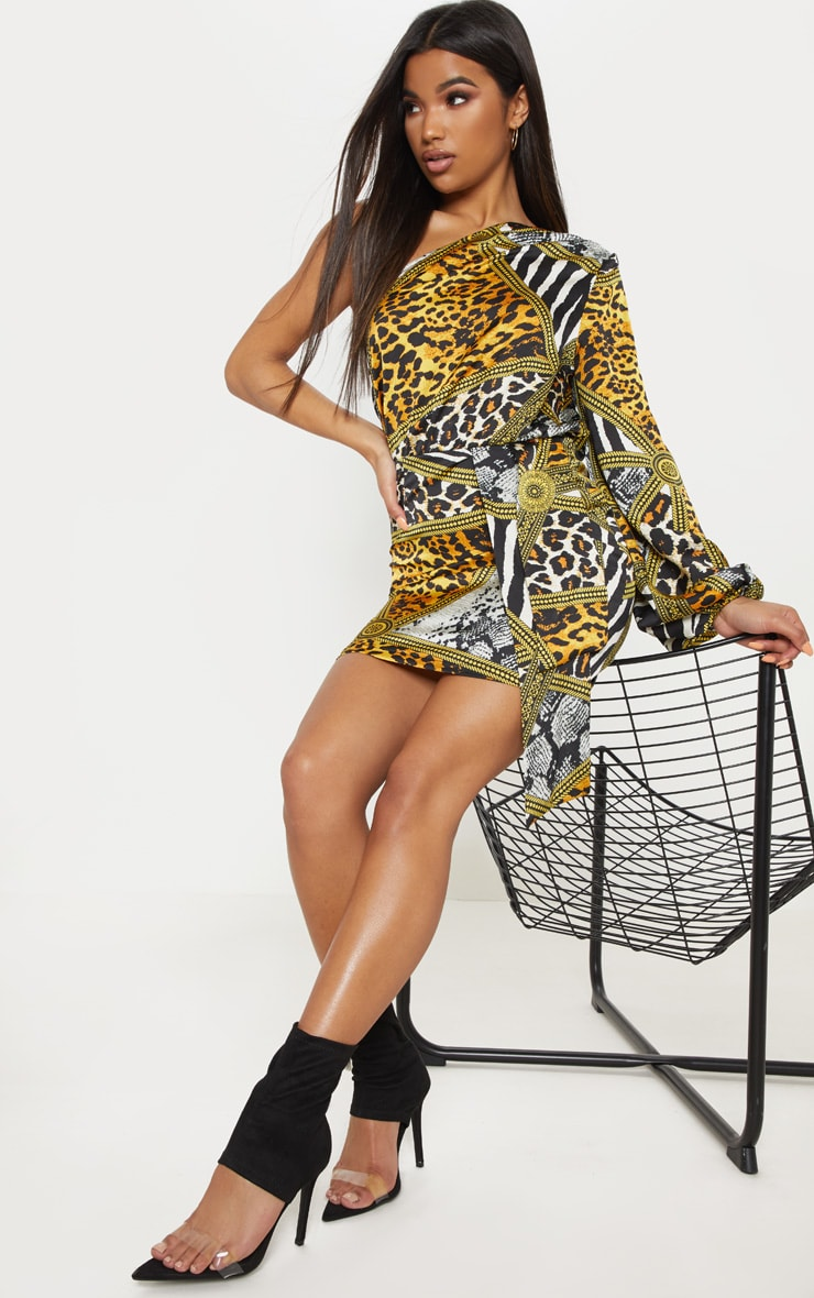 Multi Mixed Animal Print One Shoulder Drape Bodycon Dress 4