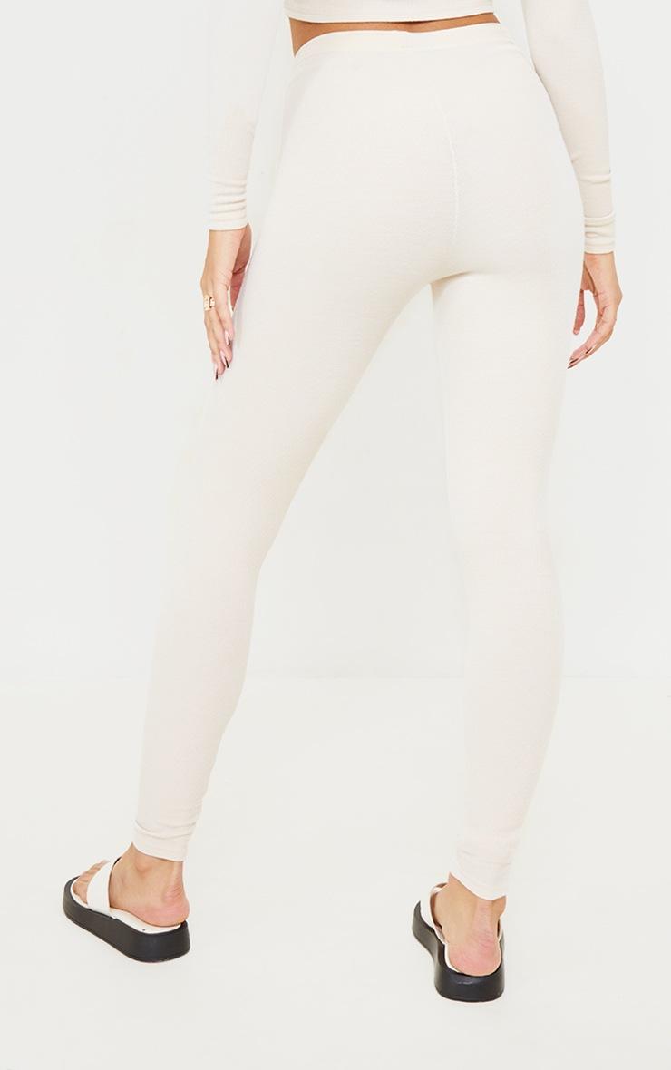 Cream Ribbed Tie Waist Leggings 3