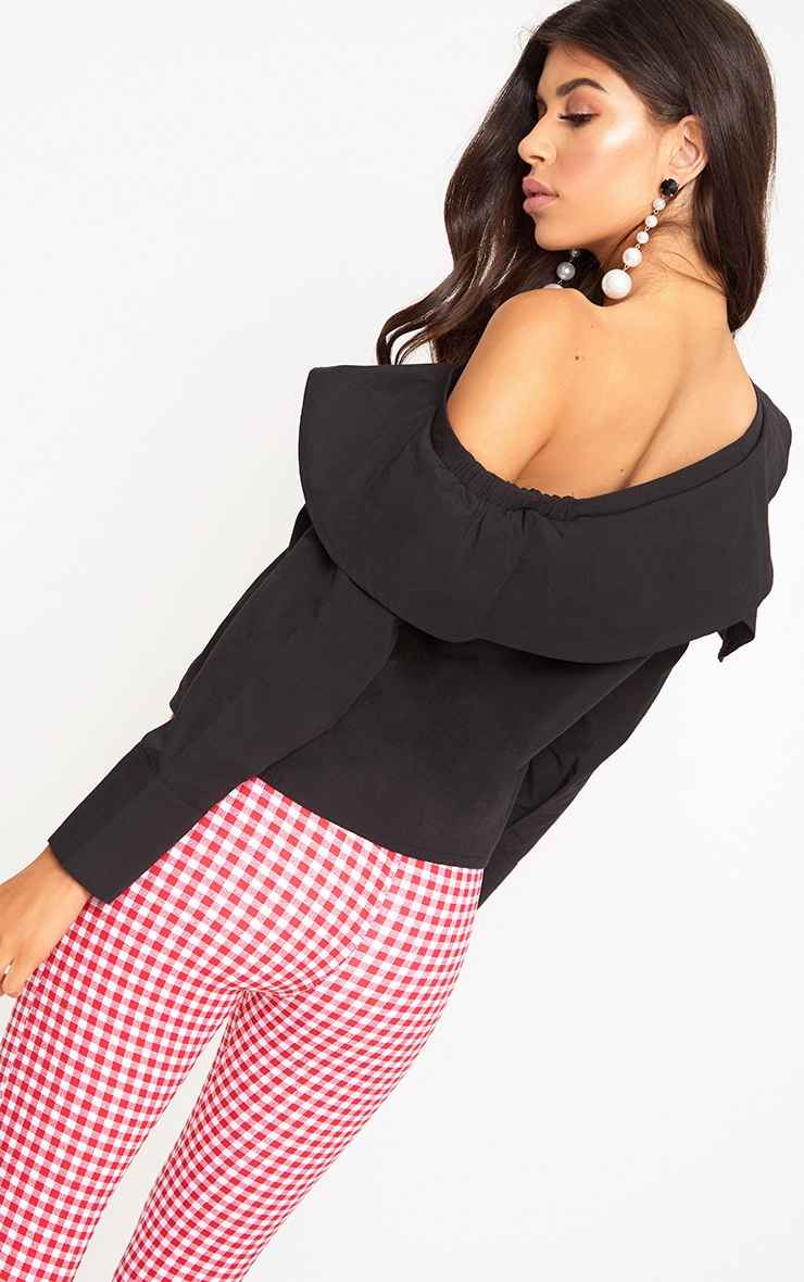 Black Off Shoulder Frill Shirt 2