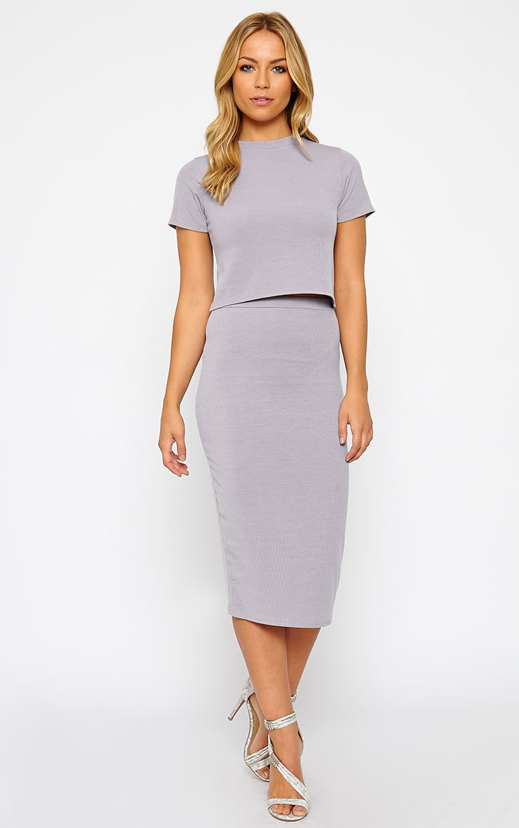 Basic Grey Ribbed Midi Skirt 1