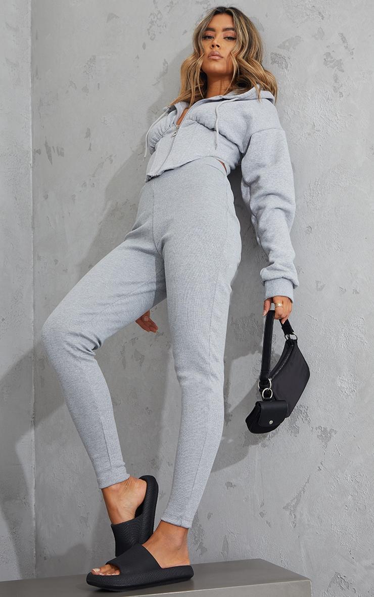 Grey Zip Through Boning Detail Corset Hooded Jacket 3