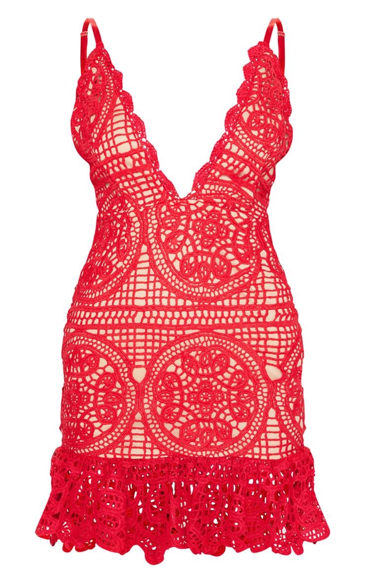 Red Strappy Thick Lace Frill Hem Bodycon Dress 3