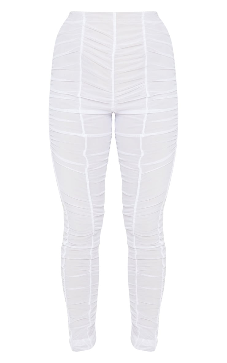 White Ruched Mesh Layered Pants 3