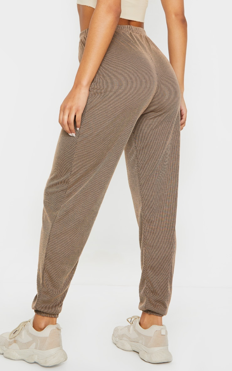 Camel Contrast Ribbed Casual Joggers 3