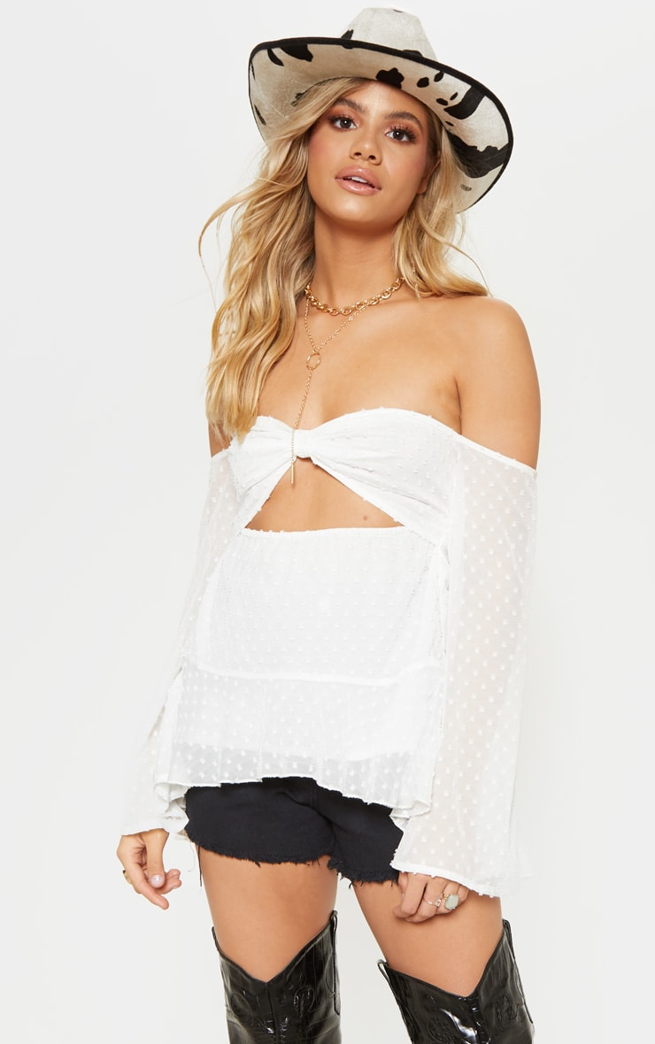 White Sheer Polka Dot Bardot Crop Top 1