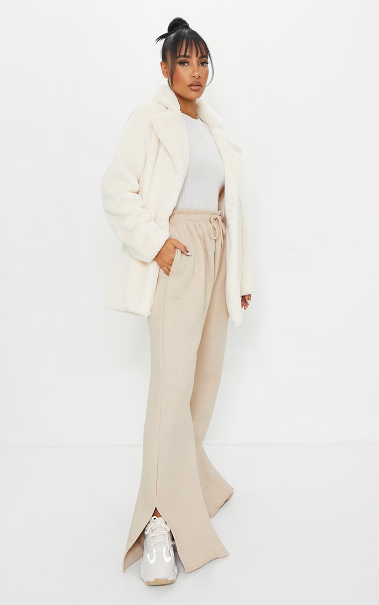 Cream Soft Faux Fur Coat 3