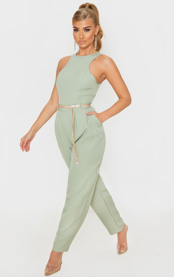 Sage Green Racer Back Pocket Detail Jumpsuit 4