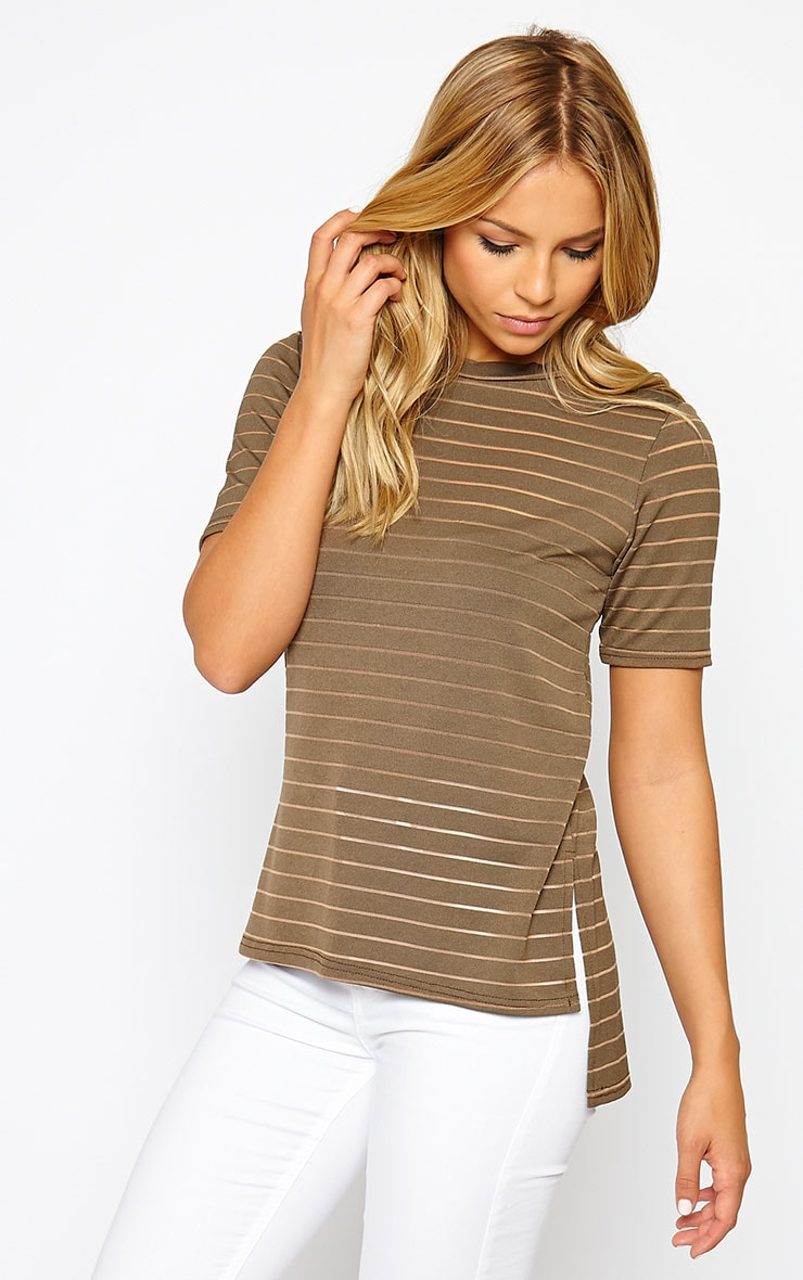 Elodie Khaki Stripe Burnout T-Shirt 1