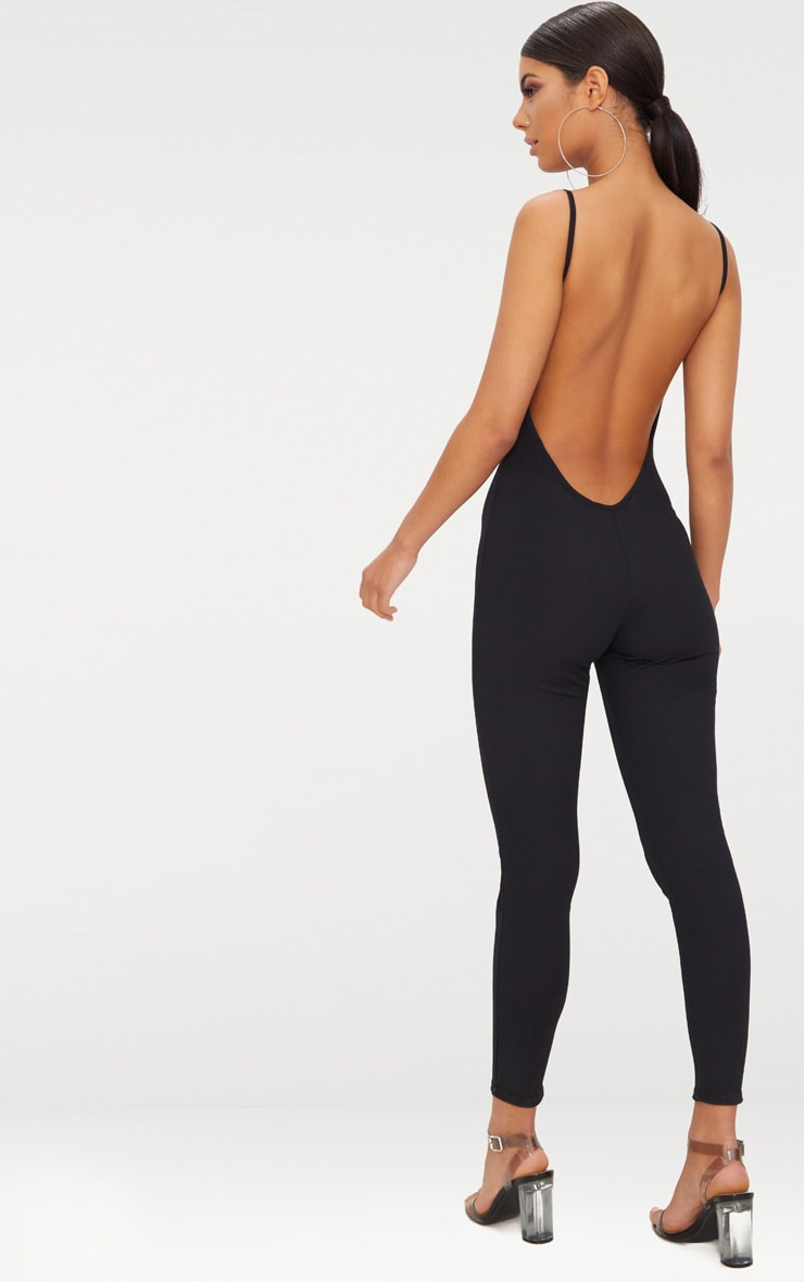 Black Ribbed Ring Pull Jumpsuit 2