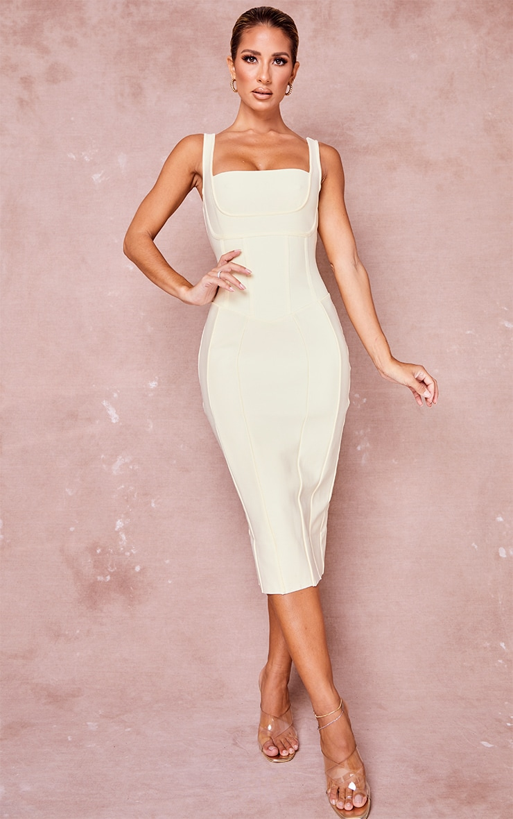 Cream Bandage Panel Detail Sleeveless Midi Dress 1