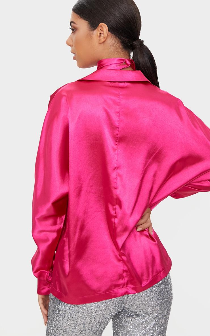 Hot Pink Satin Choker Button Front Shirt  2