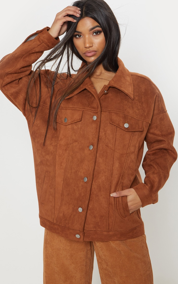 Chocolate Brown Faux Suede Oversized Trucker Jacket 4