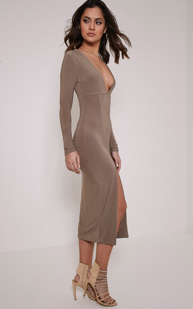 Christa Mocha Slinky Plunge Split Front Midi Dress 3