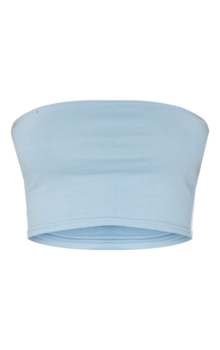 Dusty Blue Sport Stripe Bandeau Crop Top 5