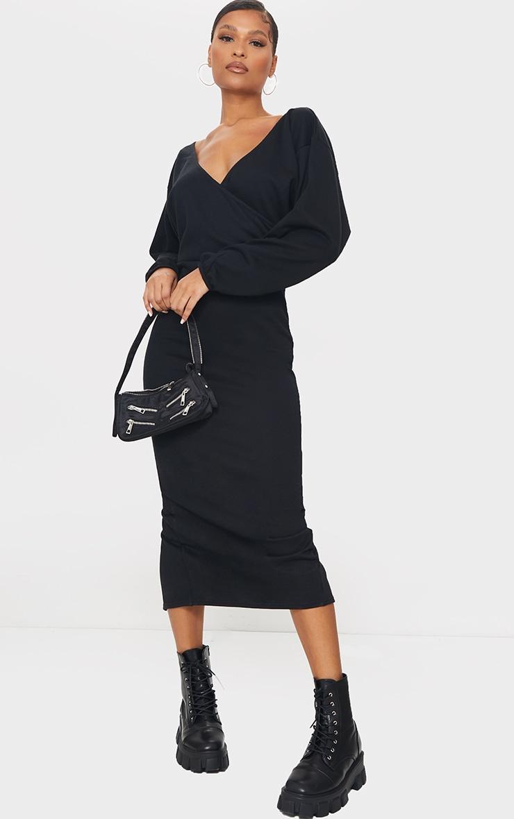 Black V Neck Wide Sleeve Maxi Jumper Dress 1