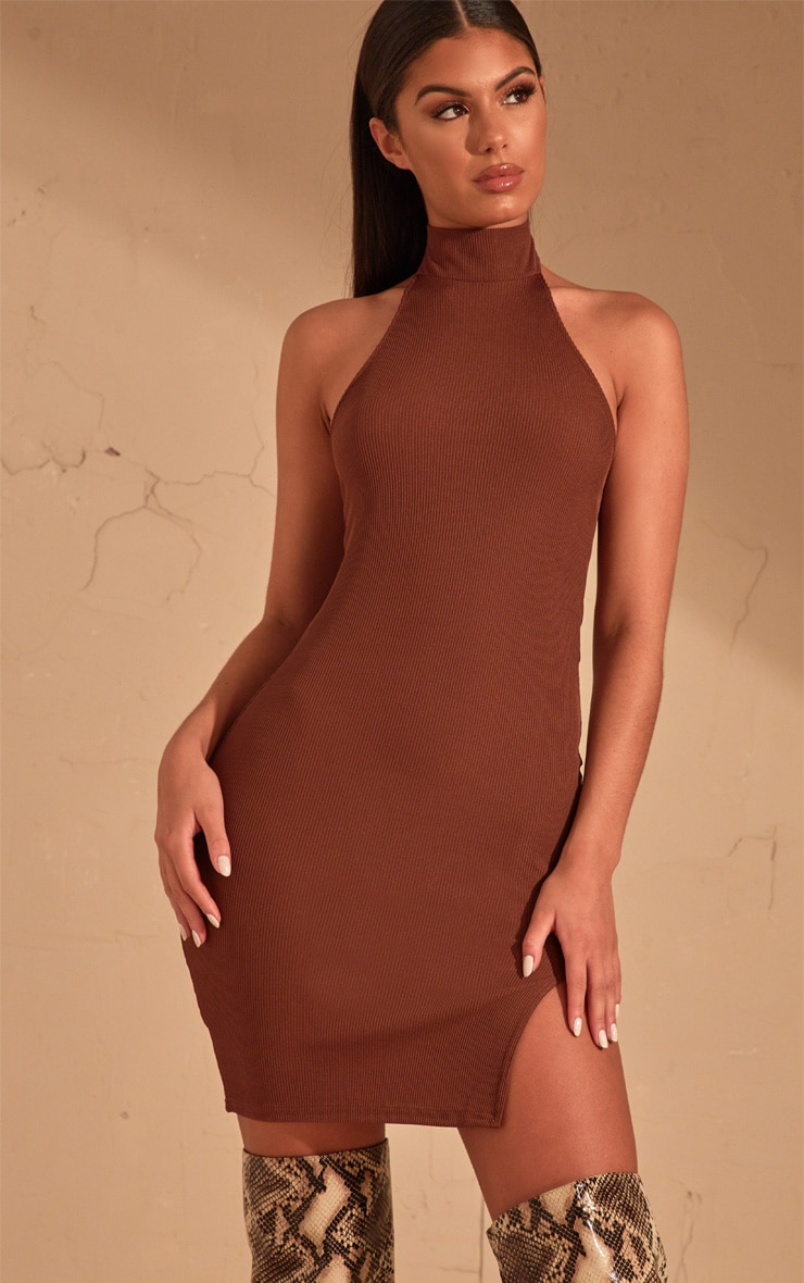Chocolate Brown Ribbed High Neck Split Detail Bodycon Dress 1