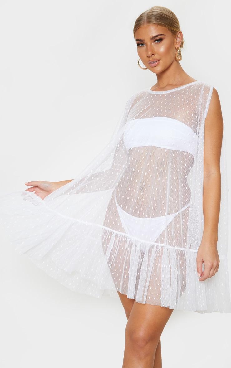 White Dobby Mesh Frill Shift Beach Dress 1