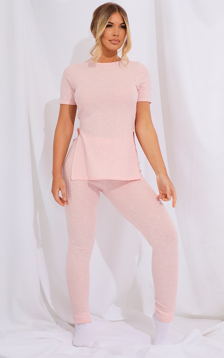 Baby Pink Knitted Side Split Tee And Legging Set 1