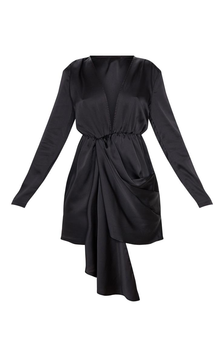 Black Satin Extreme Plunge Drape Bodycon Dress 3
