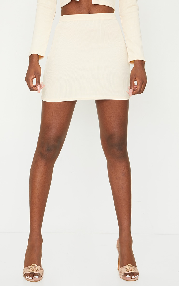 Tall Stone Structured Ribbed Mini Skirt 2