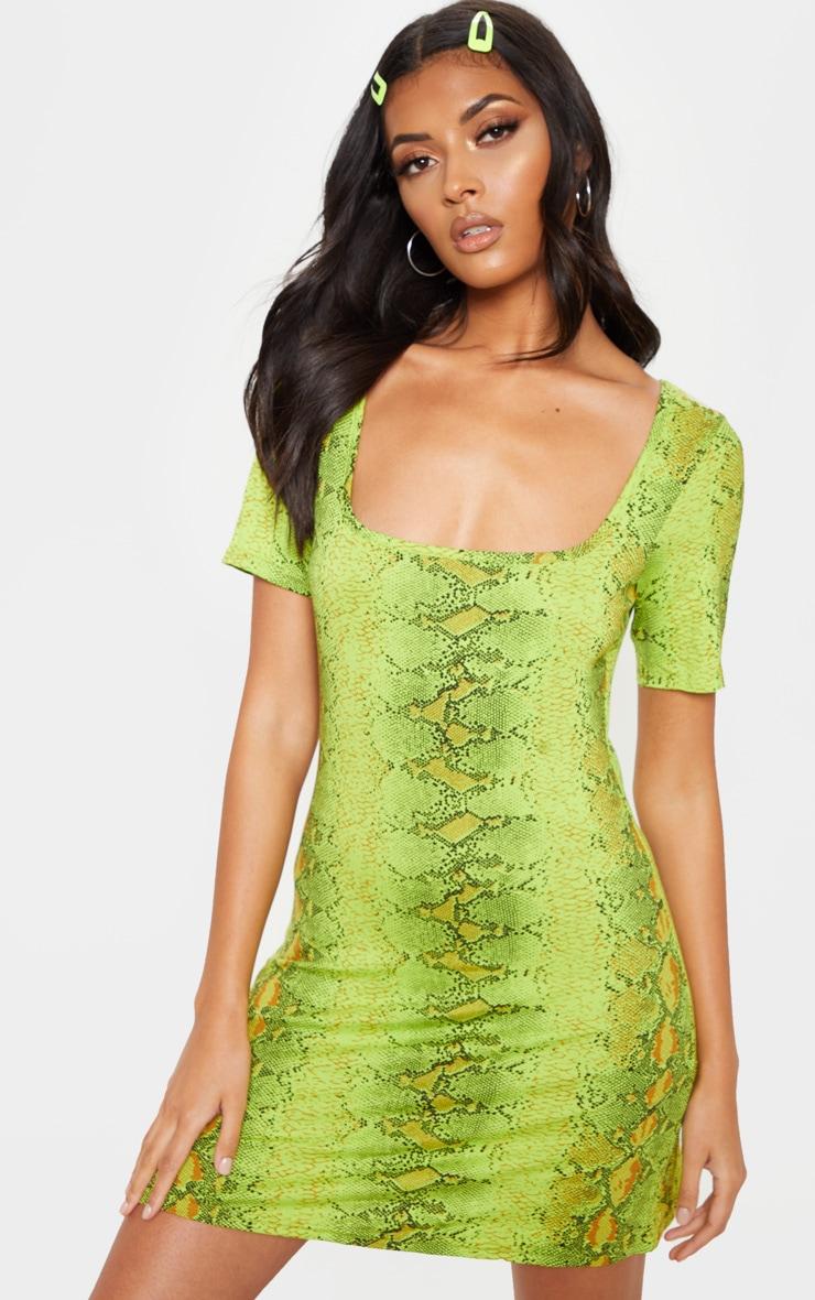 Robe droite vert citron à imprimé serpent et encolure carrée 1
