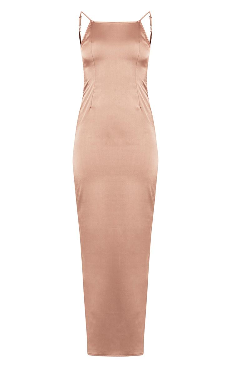 Tinala Taupe Silky Low Back Maxi Dress 3