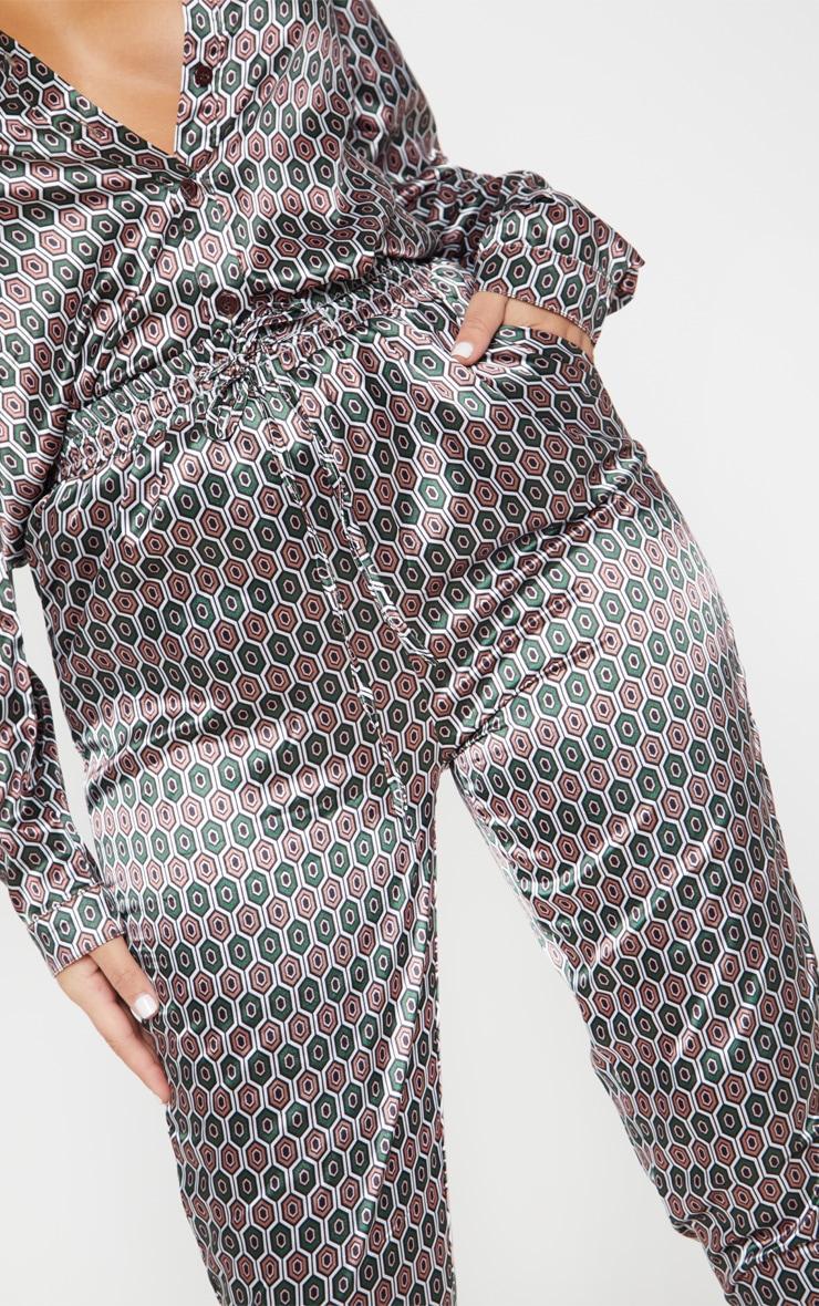 Pantalon cigarette marron imprimé géométrique 5