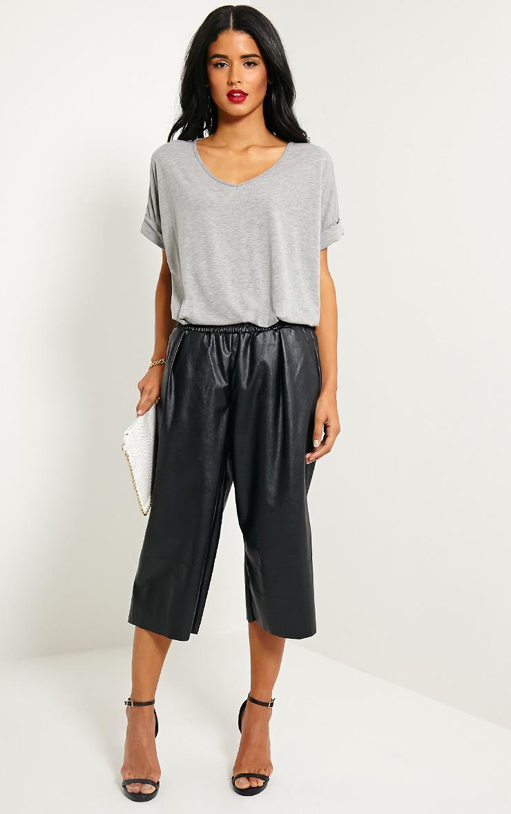 Brit Black Leather Culottes 1