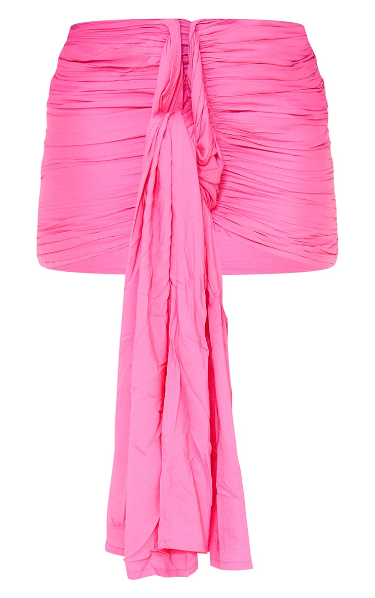 Hot pink Ruched Drape Front  Mini Skirt 6