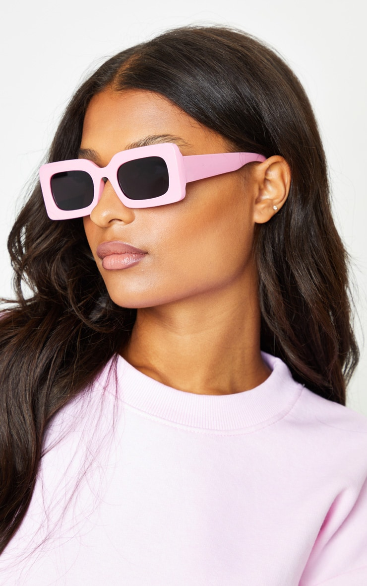 Baby Pink Chunky Square Frame Sunglasses image 1