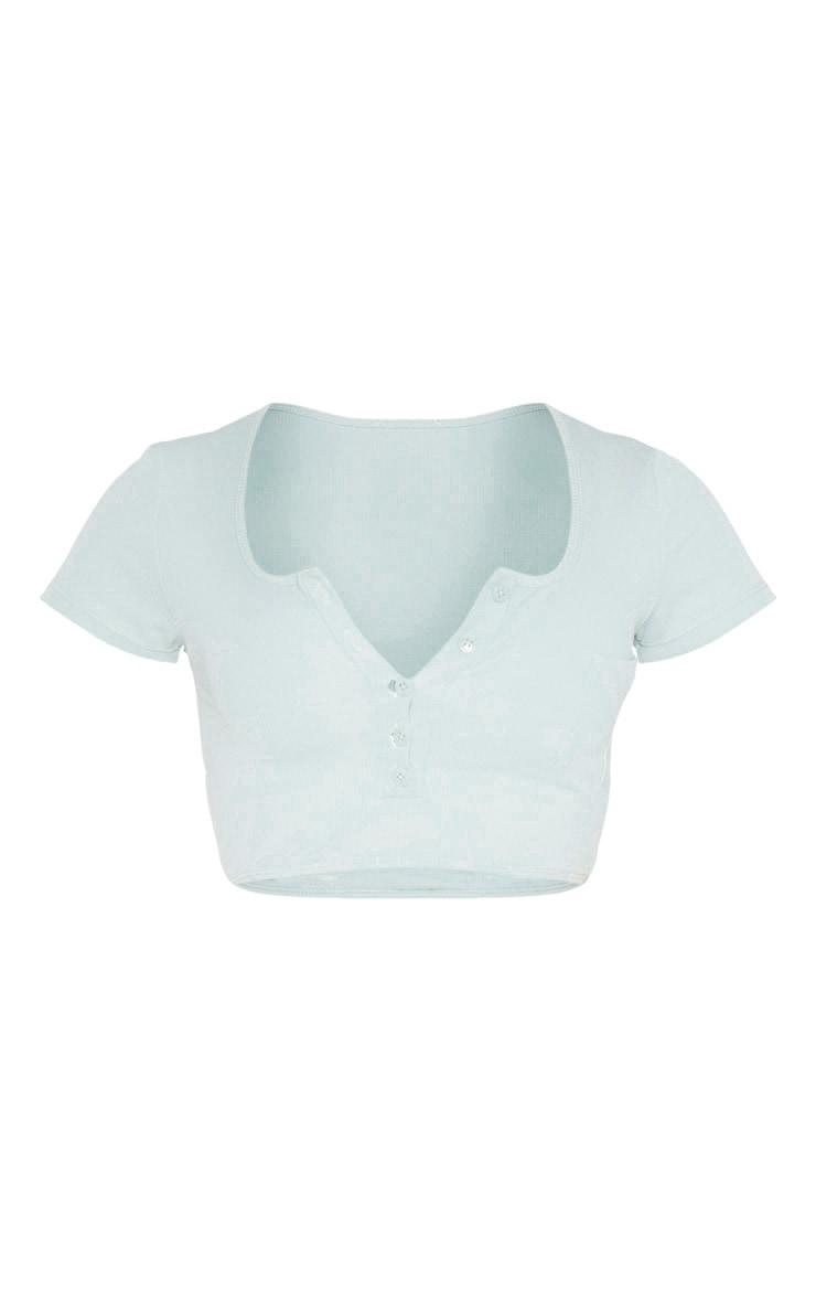 Sage Green Ribbed Button Down Short Sleeve Bikini Top 3