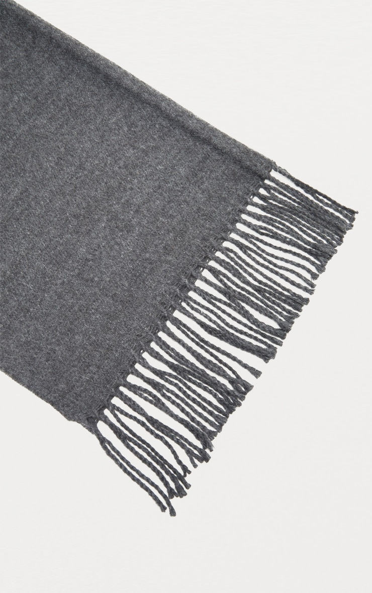 Charcoal Solid Blanket Tassel Scarf 2