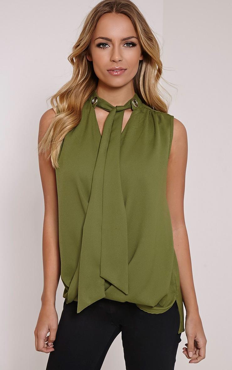 Dianne Khaki Pussy Bow Blouse 1