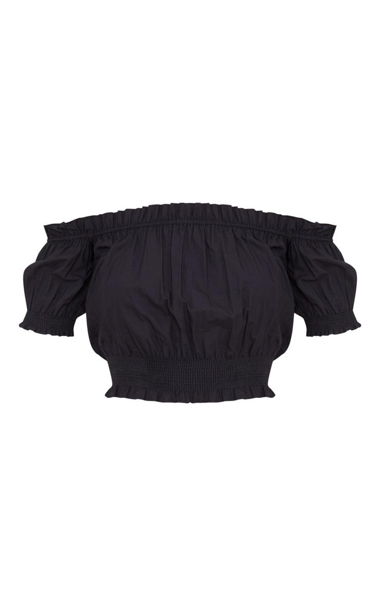 Black Ruched Sleeve Bardot Crop Top 3
