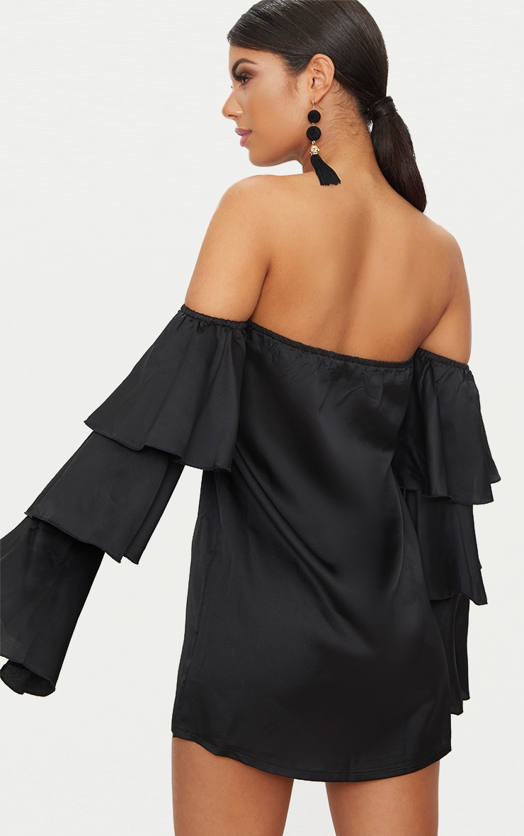 Black Bardot Ruffle Sleeve Satin Shift Dress 2