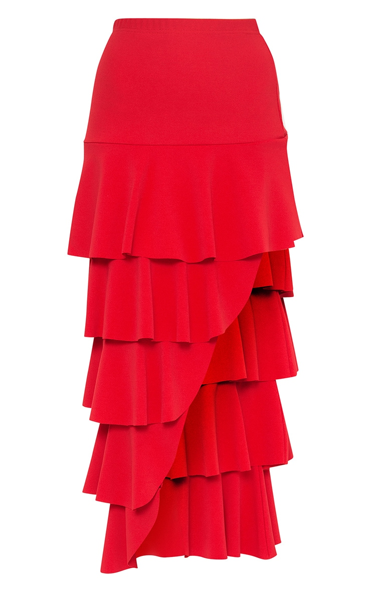 Red Tiered Split Maxi Skirt 3