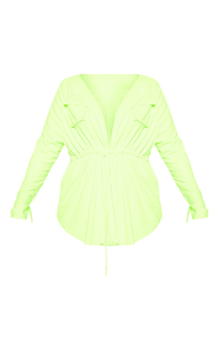 Plus Lime Faux Suede Cargo Ruched Waist Shirt 3