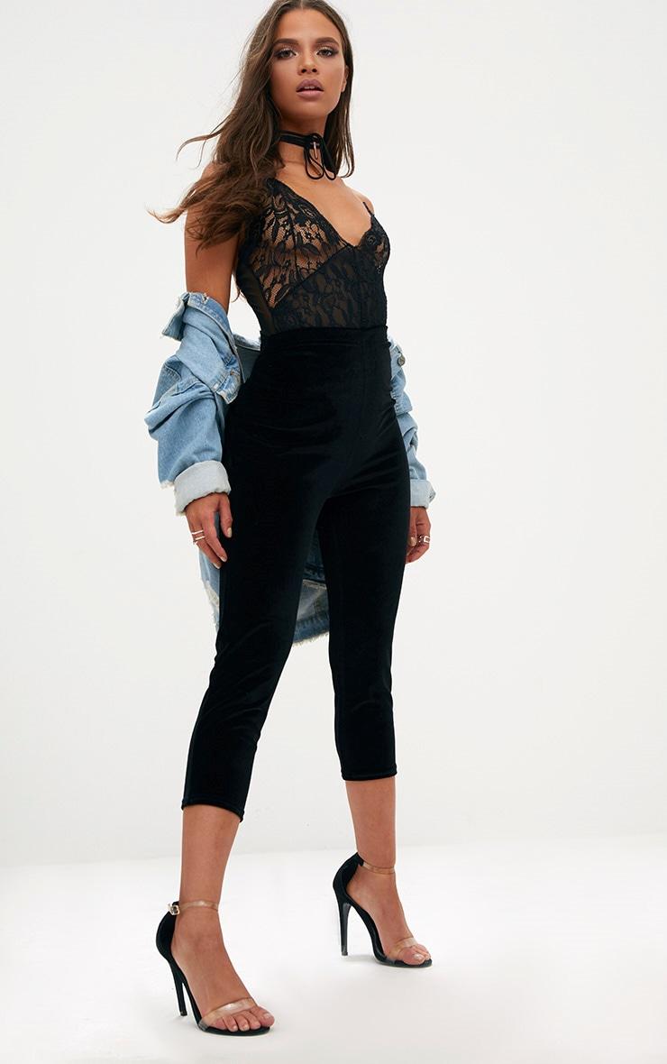 Black Cropped Velvet Leggings