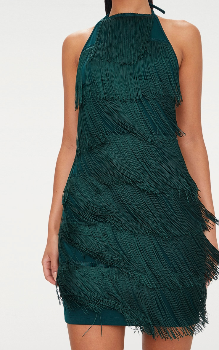 Emerald Green Tassel Detail Halterneck Bodycon Dress 5