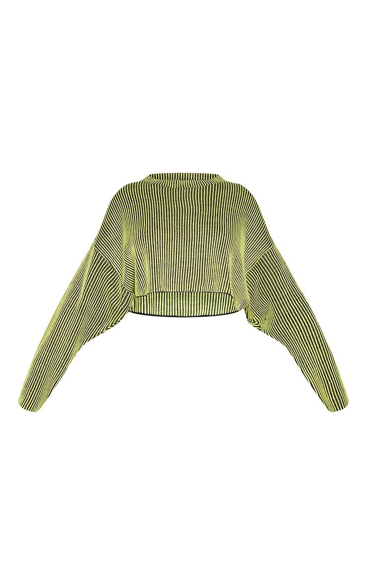 Tall Neon Lime Cropped Drop Shoulder Stripe Jumper 3