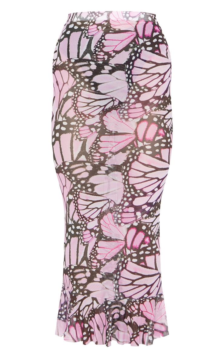 Pink Butterfly Print Mesh Peplum Hem Midaxi Skirt 5