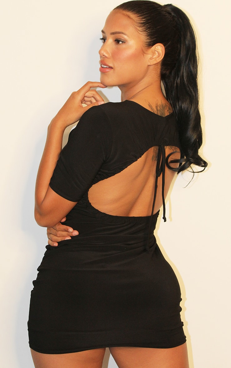 Shape Black Slinky Ruched Cut Out Back Bodycon Dress 1