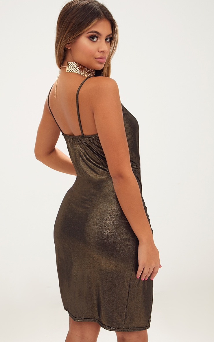 Gold Drape Front Ruched Wrap Over Midi Dress  2
