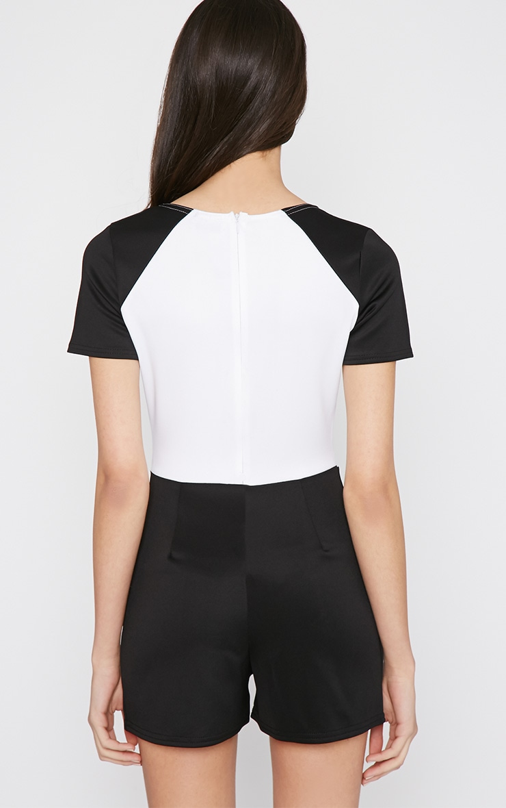 Sandra Black Colour Block Playsuit  2