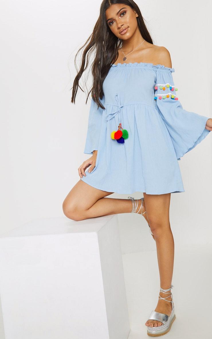 Pastel Blue Pom Pom Trim Bardot Smock Dress