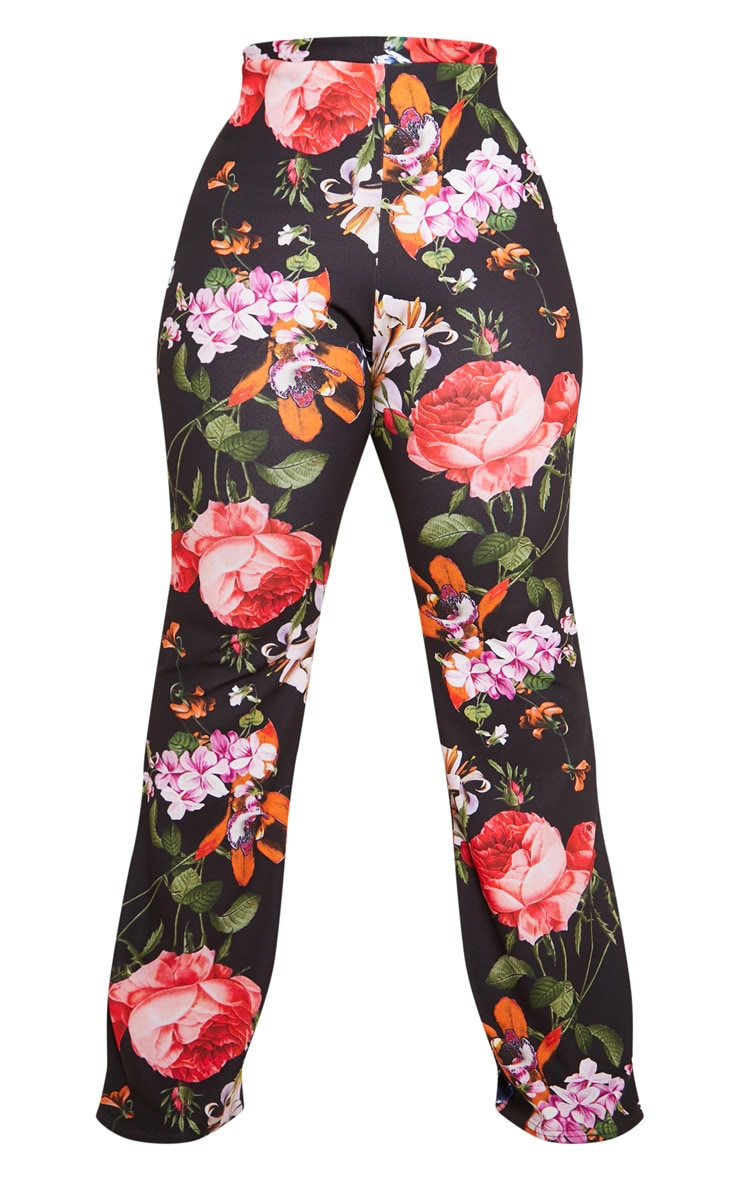 Black Floral Print Flare Leg Pants 4