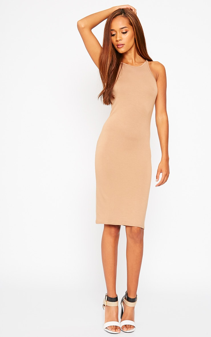 Basic Camel Jersey Racer Neck Dress 1